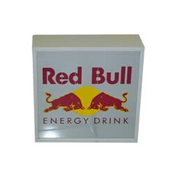 Illuminated RED BULL sign-board
