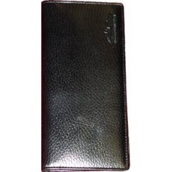 Black leather long wallet with MS logos