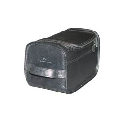 Black leather wash bag with MS logos