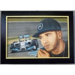 Peinture à l'huile Lewis Hamilton
