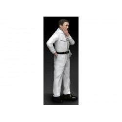 Mechanic with white overall, pensive