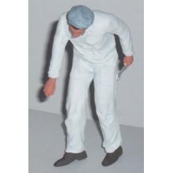 Mécanicien en overall blanc