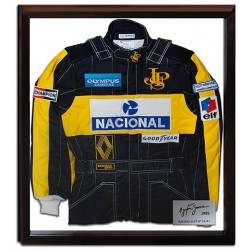 Ayrton Senna / Stand 21 framed replica suit