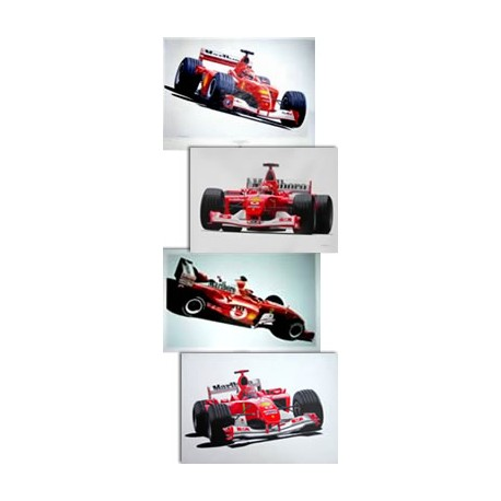Set of 4 Prints : Michael SCHUMACHER World Champion 2001-2002-2003-2004