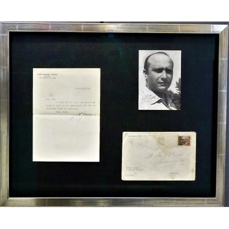 Framed Juan Manuel Fangio signed photo and letter