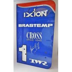 Plaque latérale d'aileron arrière dédicacée Damon Hill / Arrows A18