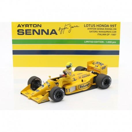 Lotus Honda 99T Ayrton Senna riding on Saturo Nakajima