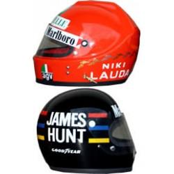 1976 Niki Lauda and James Hunt replica helmets