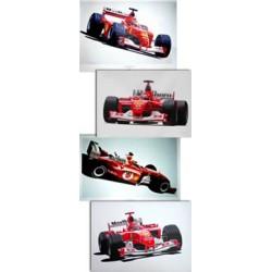 Collection de 4 Lithographies: Michael SCHUMACHER Champion du monde 2001-2002-2003-2004