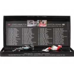 Set de 2 miniatures Ayrton Senna / Lewis Hamilton 41 victoires