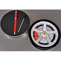"Stylo bille Ferrari 2 dans boîte métal ""roue"""